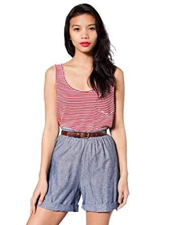American Apparel Chambray Woven Cuff Short - Blue / XS