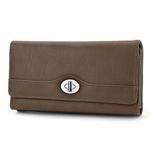 mundi-file-master-pebble-pattern-womens-wallet-clutch-organizer-with-zipper-pockets-brown