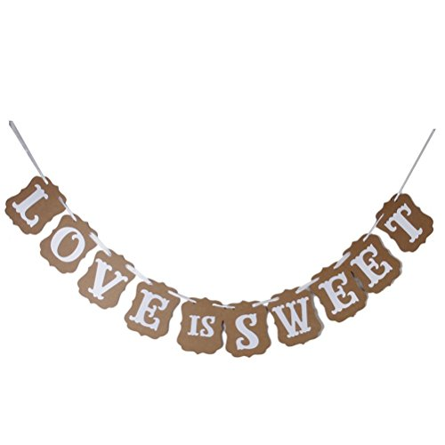 OULII LOVE IS SWEET Paper Garland Banner Wedding Banner Party Decoration