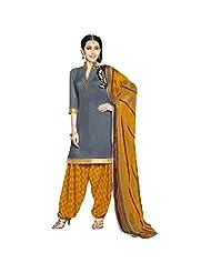 She Fashion Women's Cotton Suit With Print Straight Unstitched Stiched Suit [Karishma8004_Blue_Free Size] - B019S342M6