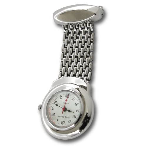 Philip-Mercier-Silver-Tone-Nurses-Watch-With-White-dial-and-Date-Feature