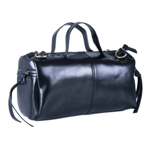 Ecosusi Trendy Black Splendid Baguette Bag Soft Pu Leather Top Handle Handbags