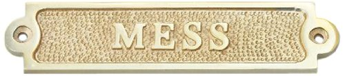 "Hampton Nautical  Solid Brass Mess Sign, 3"", Brass"