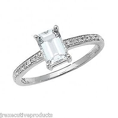White Gold Real Aquamarine Solitaire & Diamond Ring (available in sizes J - S )