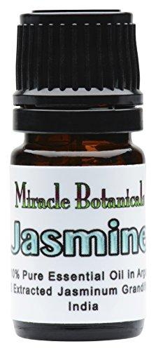 Miracle Botanicals Jasmine Essential Oil - Pure Jasminum Grandiflorum Oil Preblended in Golden Argan at 10% - Therapeutic Grade - CO2 Extracted 5ml
