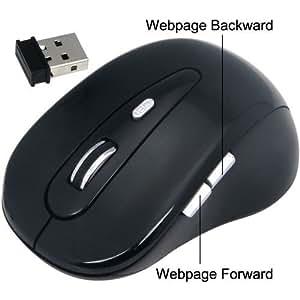 Daffodil WMS320B Souris Optique Sans Fil / Wireless Mouse - Souris d'Ordinateur avec 5 Boutons, Molette et DPI (PPP) Réglable (Max : 1600) - Pour Laptop / Notebook / Desktop - Compatible avec Microsoft Windows (7 / XP / Vista) et Apple Mac (OS X +) - Alimentée par 2 Piles AAA (incluses)