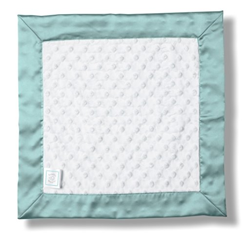 SwaddleDesigns Baby Lovie, Plush Dots Security Blankie with Color Trim, SeaCrystal