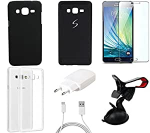 NIROSHA Tempered Glass Screen Guard Cover Case Charger Mobile Holder for Samsung Galaxy ON7 - Combo