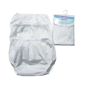 Image: Dappi Waterproof 100% Vinyl Diaper Pants, White - Soft spandex waist and elastic leg openings provide maximum comfort