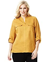 Plus Pure Linen Twin Pockets Stud Blouse