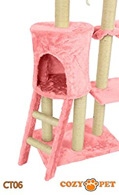 Cozy Pet Deluxe Multi Level Cat Tree Scratcher Activity Centre Scratching Post Toys with Heavy Duty Sisal in Pink...
