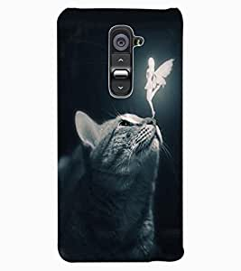 ColourCraft Angel and Cat Design Back Case Cover for LG G2