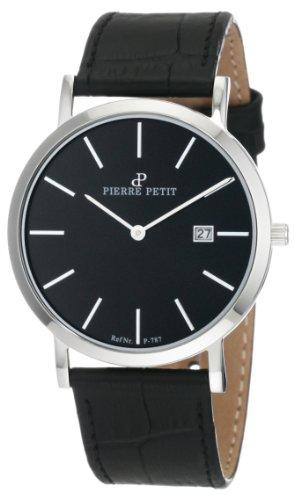 Pierre Petit P-787A - Reloj analógico de cuarzo unisex con correa de piel, color negro