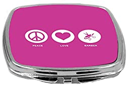 Rikki Knight Peace Love Barber Design Compact Mirror, Rose Pink, 2 Ounce