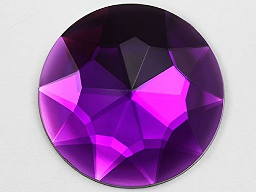 50mm Purple Amethyst H105 Flat Back Round Acrylic Gems High Quality Pro Grade Individually Wrapped - 4 Pieces (Flat Back Gem compare prices)