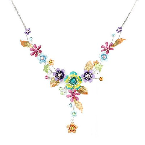 Glamorousky Colorful Flower and Tiny Butterfly Necklace with Multi-color Austrian Element Crystals (986) (Swarovski Crystal Flower compare prices)