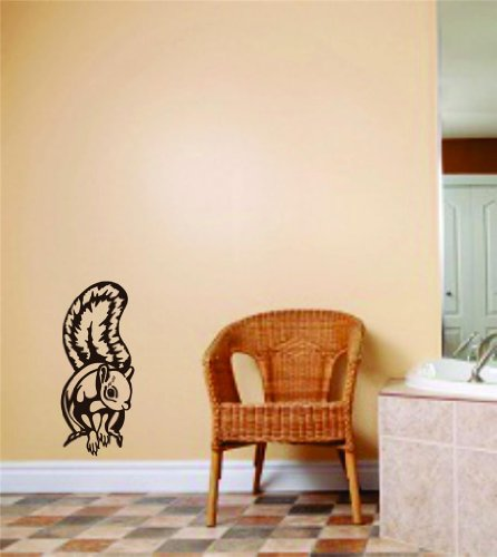 Squirrel Animals Picture Graphic Art - Room Home Decor - Vinyl Wall Decal Stickers - Decoration Ideas - Cheap Buy Sale Item - Size : 20 Inches X 40 Inches - 22 Colors Available
