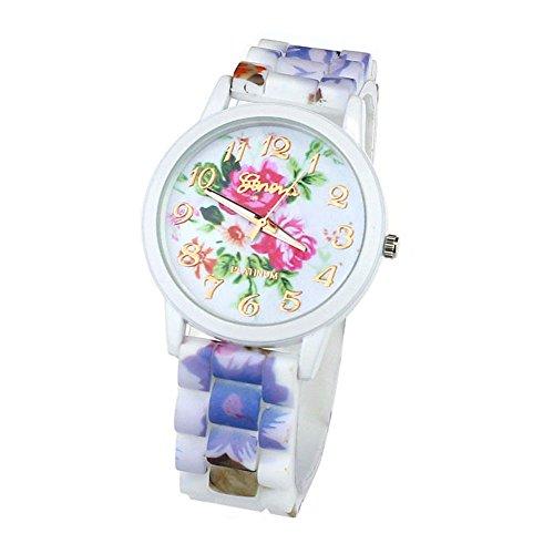 Zps(Tm) 1Pc Fashion Women Flower Printed Casual Quartz Silicone Watch Hot Pink