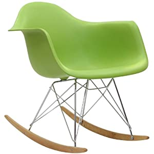 Home Life Retro Modern Rocking Lounge Cradle Chair with Ash-Wood Rockers - Green