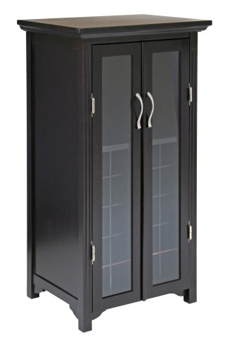 Winsome Wood Wine Cabinet with French Doors, Espresso