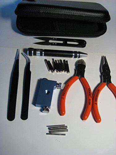 Walant 6 IN 1 Spule DIY Wicklung Jig Kit Werkzeug Set: Spitzzange & Schere & 3 IN 1 DIY Spule Jig & Keramik Pinzette & Krummsäbel Pinzette Aus Rostfreiem Stahl & 8-in-One-Multi-Tool Pen & Widerstand Spannungsprüfer & Seitenschneider & Flannelette Beutel & Kunststoff Box & Tragbare Zipper Etui, Machen 1.5mm 2.0mm 2.5mm 3.0mm 3.5mm 4.0mm Spule