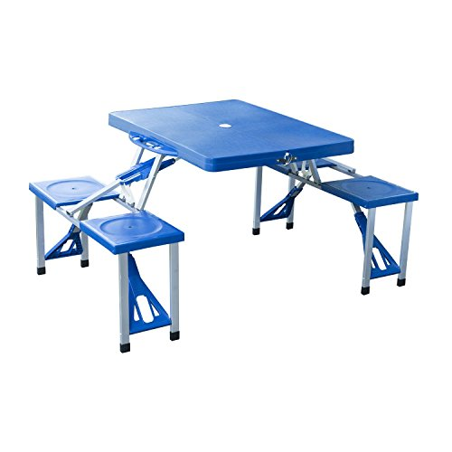 Outsunny Outdoor Portable Folding Camp Suitcase Picnic Table with 4 Seats, Blue (Outdoor Folding Dining Table compare prices)