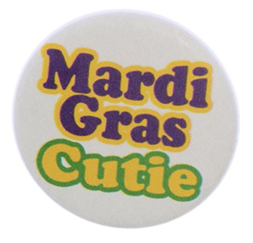 "A&T Designs Unisex - Mardi Gras Cutie 1.25"" Pinback Button Badge / Pin"