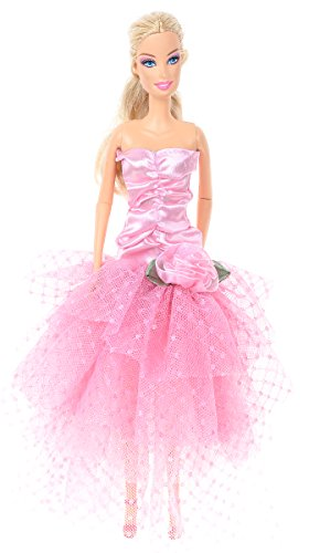 Banana Kong Doll's Strapless Alluring Stylish Pink Meash Party Gown