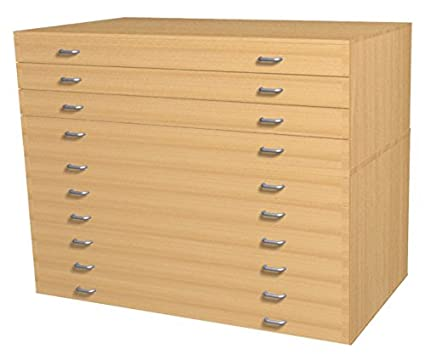 Plan Chest - 10 Drawer, A1 Mobile Paper Storage Drawers, Paper Storage Chest