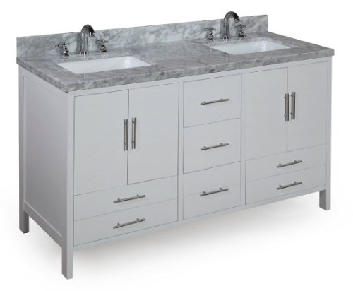 California 60-inch Solid Wood Bathroom Vanity (Extra Thick Carrera/White): Includes Soft Close Drawers, Self Closing Door Hinges and Double Rectangular Ceramic Sinks