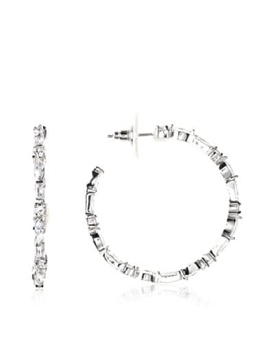 CZ by Kenneth Jay Lane KE127 CLSI Multi Cz In/Out Hoop Earrings