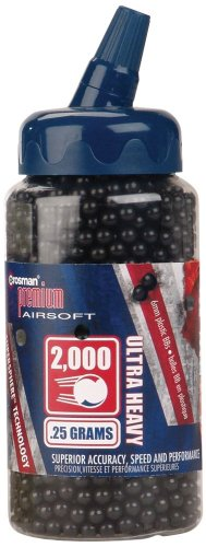 Crosman 6mm plastic airsoft BBs, 0.25g, 2000 rds, black