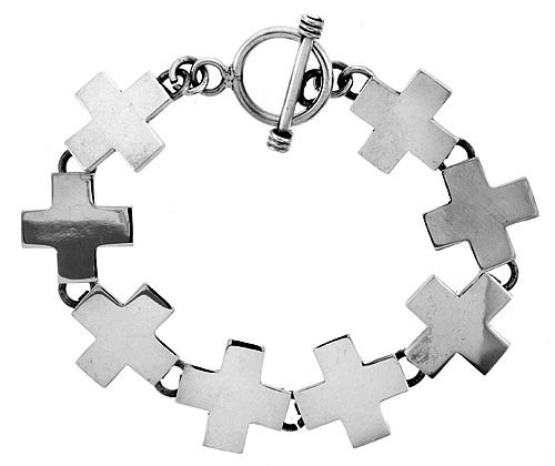 Sterling Silver Cross Bracelet w/ Toggle Clasp 3/4 inch (17 mm) wide, 8 inch