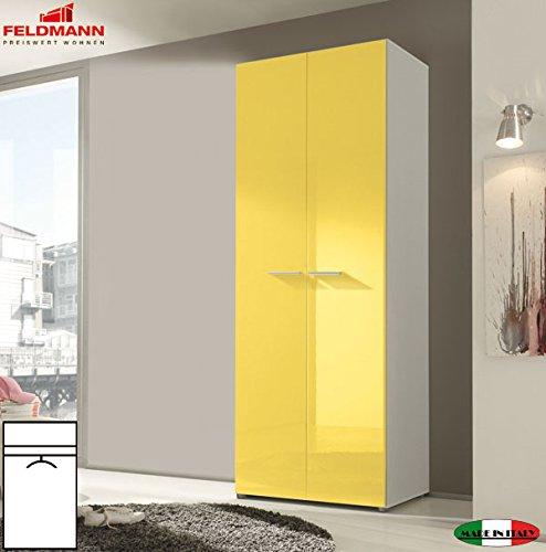 Kleiderschrank Schlafzimmerschrank 55034 2-türig weiß / gelb Hochglanz 81cm