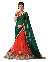 Ishin Net Chiffon Party Wear Embellished Red & Green Lehenga