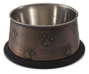 Loving Pets Artistic Antique No-tip Pet Bowl, 12-Ounce, Antique Copper