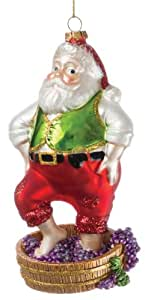 Sullivans - Multicolored Santa Stomping Grapes Glass Ornament 6""