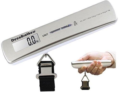 DecoBros 110lb/50kg Electronic Digital Luggage Hanging Scale, temperature sensor, Large LCD Display
