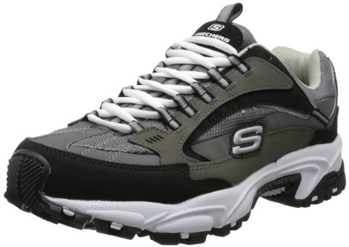 Skechers Sport Men's Stamina Nuovo Fashion Sneaker,Charcoal/Black,10.5 XW US