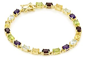 Yellow Gold Plated Sterling Silver Multi-Gemstone Bracelet, 7