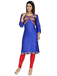 Tanvi Blue Cotton Straight Kurti For Women