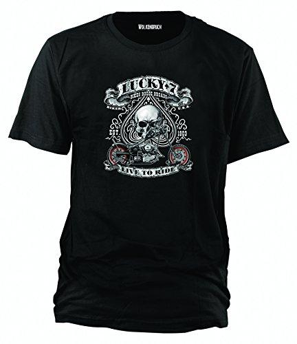 sputnik-shirts-maglietta-lucky-7-taglie-dalla-s-alla-5xl-nero-nero-m
