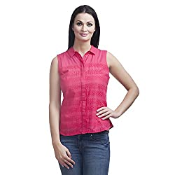 MansiCollections Women's Solid Casual Pink Shirt (46)