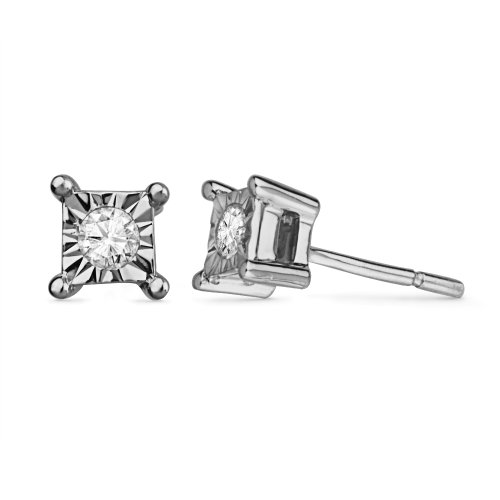 Platinum Plated Sterling Silver Princess Miracle with Round Diamond Studds (1/20 Cttw)