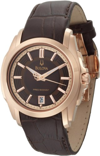 Bulova Men's 97B110 Precisionist Longwood Rose-Tone Brown Leather Watch
