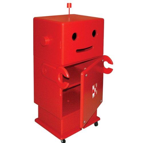 HERO 木製収納ロボ ロビット(Robit) レッド 収納家具/キャスター付き/ロボット/本棚/可動棚/キャビネット/オシャレ/個性的/かわいい