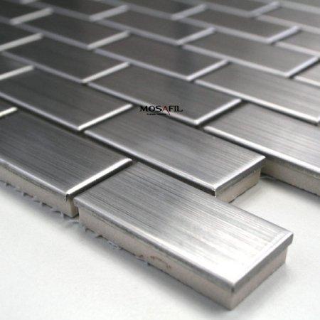 Edelstahl Mosaik Fliesen 23x48x8mm Silber