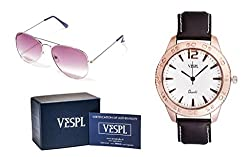 VESPL Super cool Combo of Purple Aviator Sunglass & Rose Gold Dial analog Unisex Watch