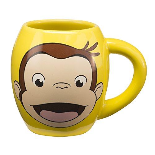 Vandor 49061 Curious George 18 oz Oval Ceramic Mug , Multicolor