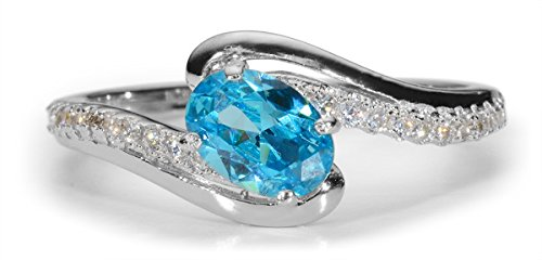 Oval Aquamarine CZ 7x5mm with pave clear CZ .925 Sterling Silver Ring SZ7